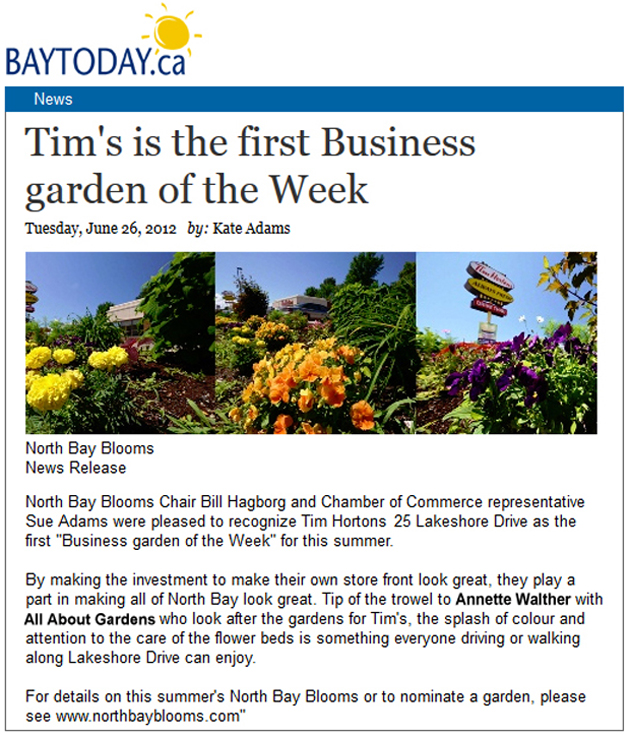 25 Lakeshore Drive Tim Hortons Business Garden of the Week June 26, 2012